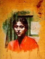 Painter Pablo Picasso. Portrait d`Olga2. 1901 - Olga was his first wife!