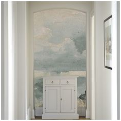 Clouded Mural from Anewall. Very nice water color effect. And it's self adhesive! You can reposition it.