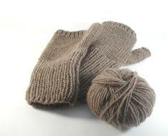 Cashmere fingerless gloves. Brown hand knit gloves by RamixBijoux