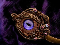 Gothic Steampunk Bohemian Fantasy - Dragon Eye - Cat - Hair Stick Pin - Purple Lavender Bronze Wire - GLOW and BLACK LIGHT - One of a Kind by LadyPirotessa, $58.98 USD