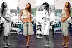 pantacourt jeans com colete - look do dia verão 2016