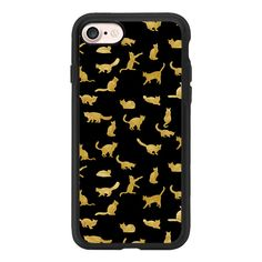 """Golden cats\"" - iPhone 7 Case And Cover (€35) ❤ liked on Polyvore featuring accessories, tech accessories, iphone case, cat iphone case, apple iphone case, iphone cases, iphone cover case and clear iphone case"