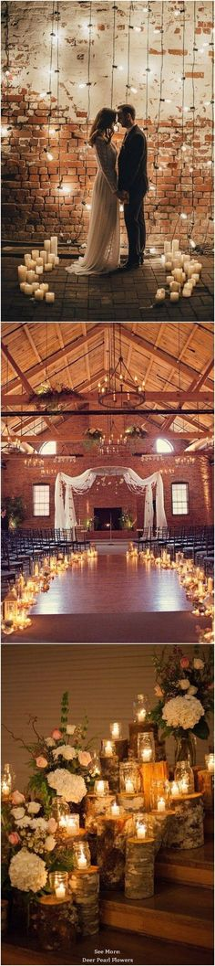 Whit--- the last one with the wood 40 Chic Romantic Wedding Ideas Using Candles / http://www.deerpearlflowers.com/wedding-ideas-using-candles/