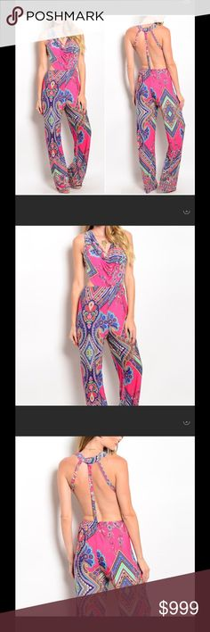 "COMING SOONTwilightDreamsSummerJumpsuit Open Back Loose Flowing Hippie Jumpsuit - Mixed Colors . length 59"" - width 12"" material 92% polyester 8% spandex Twilight Gypsy Collective Other"