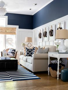 painting living rooms Fall decor in navy & white. Neutral fall decor with white pumpkins. White pumpkin decorating ideas for fall. Board and batten living room navy, white, fall. Navy Blue And Grey Living Room, Beige Living Rooms, Blue Living Room Decor, Living Room Decor Inspiration, Living Room White, Paint Colors For Living Room, Home Living Room, Navy Blue Decor, Blue Rooms