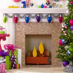 Faux Fireplace Logs Brought to you by Lowe's Creative Ideas. Turn a cardboard box into a fanciful fireplace log complete with faux flames. Fun way to get the kids involved ! Diy Christmas Fireplace, Christmas Mantels, Christmas Door, Winter Christmas, Christmas Lights, Christmas Holidays, Christmas Crafts, Christmas Decorations, Christmas Ideas