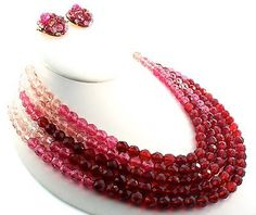 Vintage COPPOLA E TOPPO Cranberry Crystal Bead Choker Necklace and Earring Set