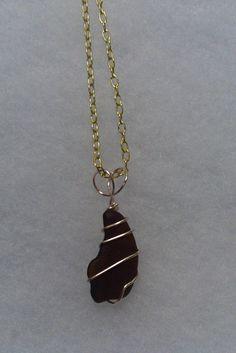 Amber Brown Beach Glass Pendant Mermaid by TreasuresFromTheLake