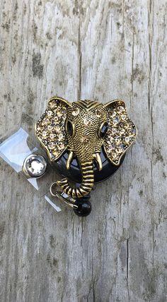 Elephant retractable badge reelAnimal badge reelBling