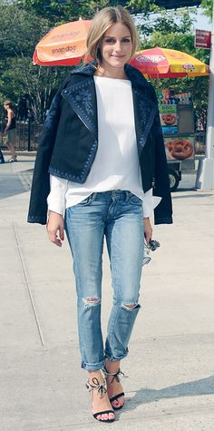 Olivia Palermo dressed up her destroyed denim with an optic white long-sleeve blouse, a blue embroidered moto-style Marchesa Voyage for ShopStyle jacket (draped over her shoulders), and ankle-tie sandals from her Aquazzura collection. #InStyle