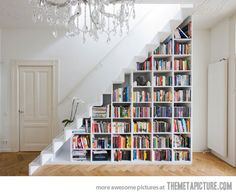 Make use of a available space by putting a bookshelf under the stairs.