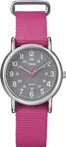 Timex Women's T2N834 Weekender Mid-Size Slip-Thru Pink Nylon Strap Watch Timex. $29.95. Water-resistant to 30 meters. Water-resistant to 99 feet (30 M). Pink Nylon Slip Through Strap. 24-hour time. Indiglo® Night-Light