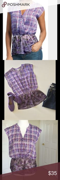 """CAbi Eva Top NWOT 🎉HP🎉 Gorgeous purple plaid & floral semi sheer fabric. V neck w/ snap. Gathered waist. 100% polyester. Machine wash. New, never worn. Bust up to 40"""", waist up to 37"""", length from shoulder 24.5"""" 🎀Bundle discount  ⭐️5 star rated Suggested User 🚭Smoke free home 🚫No trades please  😍 Thank you for shopping with me. Please ask all questions before purchase HP by @alouie97 😍😘 CAbi Tops"""