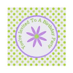 Purple Daisy And Polka Dot : Party Invitation