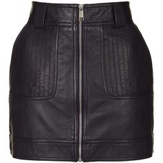 TopShop Leather Uber Mini Skirt (290 BRL) ❤ liked on Polyvore featuring skirts, mini skirts, topshop, black, leather miniskirt, short skirts, front zip skirt, mini skirt and topshop skirts