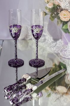 Plum & SilverChampagne Glasses and Set for CakeSilver от DiAmoreDS