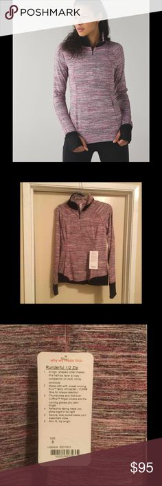 Lululemon Rundelful 1/2 zip NWT Never worn tags. Thumb holes, fits tight, size 8. lululemon athletica Tops Tees - Long Sleeve