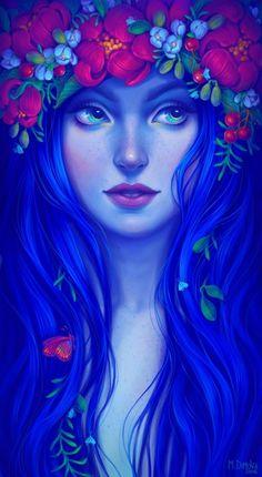 Nymph, an art print by Maria Dimova Art And Illustration, Kiosk Design, Beautiful Fantasy Art, Goddess Art, Arte Disney, Fantasy Kunst, Arte Pop, Portrait Art, Fantasy Creatures
