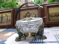 Pompöse Zucker Schale Marmelade Jugendstil Messing Glas mit Löffel