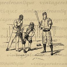 Baseball Graphic Image Download Sports Players Digital Printable Antique Clip Art for Transfers Making Prints etc Print 300dpi No.3628 @ vintageretroantique.com #DigitalArt #Printable #Art #VintageRetroAntique #Digital #Clipart #Download