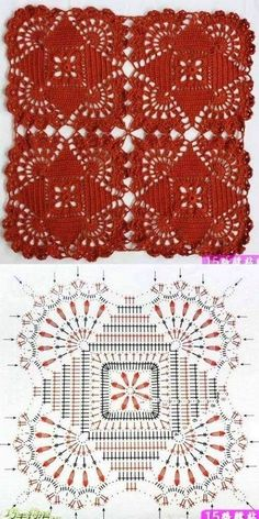 Crochet Patterns Shawl Knitting and embroidery, needlework - Magic fingers .Knitting and embroidery, needlework - Magic Wand - Articles: Serviette fabricated from sq.One of the most beautiful crochet works I have ever seen. Crochet Motif Patterns, Granny Square Crochet Pattern, Crochet Blocks, Crochet Diagram, Crochet Chart, Crochet Squares, Thread Crochet, Crochet Granny, Crochet Stitches