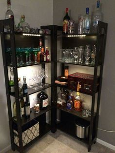 8 Creative Minibar Ideas for Your Home - Home Like Art Diy Home Bar, Home Bar Decor, Bar Cart Decor, Ikea Bar Cart, In Home Bar Ideas, Mini Bar At Home, Small Bars For Home, Diy Bar Cart, Bar Designs For Home