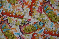 Hand spray graffiti print fabric kids bedroom punk/funky upholstery canvas print fabrics curtains cushions dress vintage by the Metre