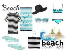 """""""Black And Blue Beach Time"""" by sistersrpriority on Polyvore featuring Lexington, Milly, Olympia Le-Tan, Havaianas and coverups"""