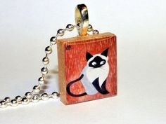 Black White and Siamese Too Scrabble Tile Necklace By H-Artworks  #HArtworks #BallChain