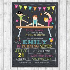 Little Tumblers Birthday Invitation Card - Gymnastic Invitation - Digital Printable File by funkymushrooms on Etsy