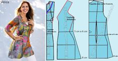Blusa larga corte francés fruncida al costado, escote V, manga al codo amplia