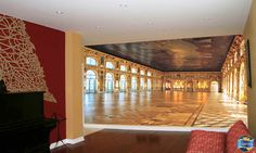 Imagine playing your music in one of the world's most opulent rooms. This musician doesn't have to imagine much with a full size, digitally printed, seamless wall mural, made and installed using stretch ceiling technology, it was installed without adhesive so it will remove easily to move, and the colour will never fade or rub off. Eclectic Living Room, High Resolution Photos, Wall Murals, Ceilings, Adhesive, Prints, Rooms, Technology, Colour