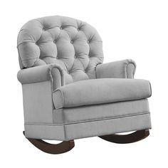 Features:  -Brielle collection.  -Classic bowback style rocker.  -Beautiful button tufting on the backrest.  -Plush padded arms and back rest.  -Soft-to-the-touch upholstery.  -Supportive spring core
