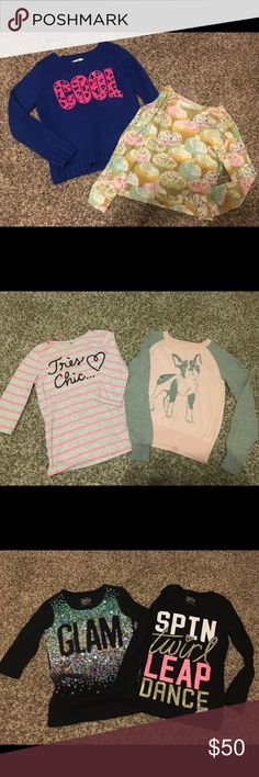 Girl's Gap and Justice Bundle Justice Cool sweater NEW and never worn size 10 (fits like an 8)  Justice cupcake super cozy lightweight sweater size 8  Justice GLAM 3/4 sleeve tee new no tags size 8  Justice Dance long sleeve tee size 8  Gap pink stripe tres chic like new size 8  Gap Boston Terrier sweater size 8 Justice Shirts & Tops Sweaters