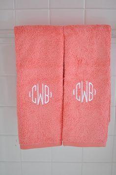 Garnet Hill monogrammed Signature Towels.