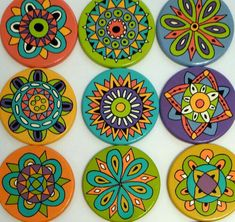 Best 11 6 x hand painted bamboo coasters with stand Dot Art Painting, Pottery Painting, Ceramic Painting, Stone Painting, Wooden Painting, Painted Bamboo, Painted Rocks, Hand Painted, Painted Wood