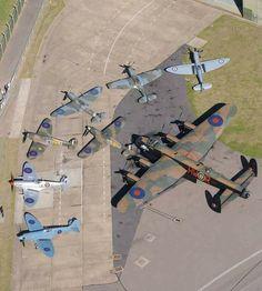Battle of Britain Memorial Flight: Lancaster, Hurricane & 6 Spitfires = 11 Merlins! Ww2 Aircraft, Fighter Aircraft, Military Aircraft, Fighter Jets, Military Weapons, Spitfire Supermarine, Lancaster Bomber, Old Planes, Battle Of Britain