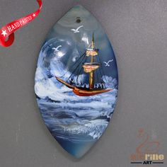 Cool Pendant Hand Painted Sailboat Natural Gemstone   ZL805624 #ZL #Pendant