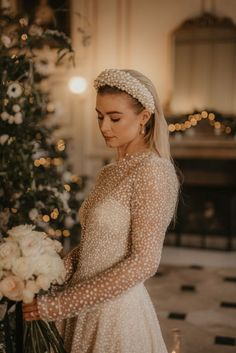 Bride in Pearl Hairband and Polka Dot Dress with White Rose Bouquet | By Pierra G Photography | Godfield Hall Wedding | Elegant Wedding | Christmas Wedding | Winter Wedding | White and Green Wedding | Bridal Accessories | Bridal Hairpiece | Bridal Headband | Bridal Jewellery |