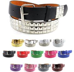 New Mens Womens Piano Colourful Studded Print PU Leather Belts