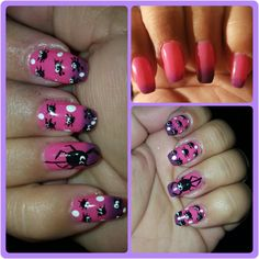 Halloween Spider designs on pink mood changing polish.