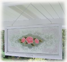 Old window painted with roses