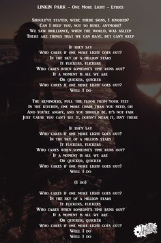 Linkin Park - One More Light - Lyrics - Metals And Wheels