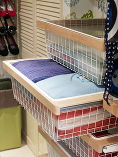 Slash your search time by using transparent containers. Plastic-lined drawers or bins keep sweaters in neat stacks, and, unlike baskets, they won't snag the fabric.