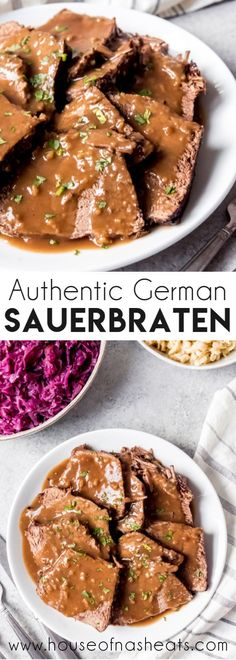 This authentic German Sauerbraten recipe makes the most tend. - **FOOD LOVE**This authentic German Sauerbraten recipe makes the most tender, juicy roast beef in a wonderful sweet and sour gravy. Marinated for days in red wine, vinegar, and spices, Authentic German Sauerbraten Recipe, Roast Recipes, Dinner Recipes, Cooking Recipes, German Food Recipes, German Recipes Dinner, Steak Recipes, Tender Roast Beef, Gourmet