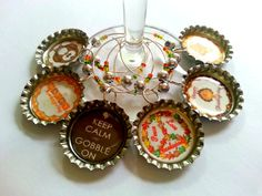Happy Thanksgiving Gobble Gobble Bottle Cap Wine Charms $12.00