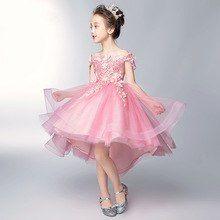 ae0c7d3d6 Children's dress Pink princess dress 2019 new word shoulder flower girl  dress female wedding wedding girl catwalk evening dress