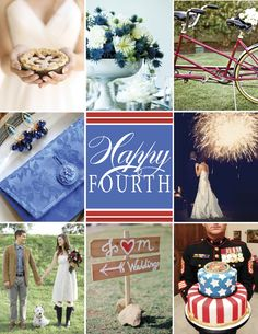 Fourth of July Wedding Inspiration #wedding #centerpiece #bike #accessories #sign #cake #america #fourthofjuly #red #blue