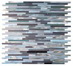 "Silver Aliminum Random Pattern Mosaic Tiles Sheet Size: 11 3/4"" x 11 3/4"" x 3/8"" Tile: Random Type: Aliminum Finished: Brushed"