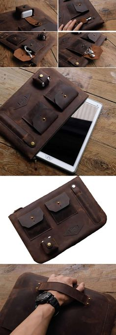 Handmade Genuine Leather iPad pro Case Bag Travel Organizer Business Portfolio